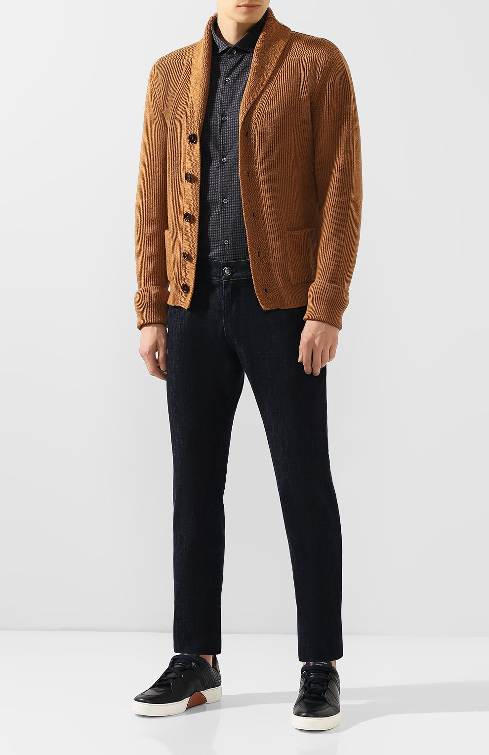 Мужская хлопковая сорочка LORO PIANA темно-серого цвета, арт. FAI7796 | Фото 2