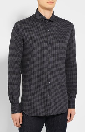 Мужская хлопковая сорочка LORO PIANA темно-серого цвета, арт. FAI7796 | Фото 3