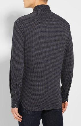 Мужская хлопковая сорочка LORO PIANA темно-серого цвета, арт. FAI7796 | Фото 4