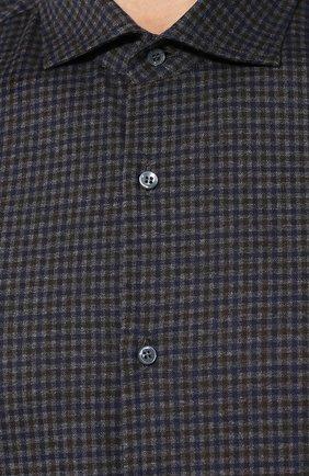 Мужская хлопковая сорочка LORO PIANA темно-серого цвета, арт. FAI7796 | Фото 5