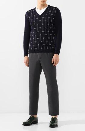 Мужской шерстяной пуловер GUCCI синего цвета, арт. 576902/XKAUM | Фото 2