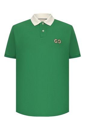 Мужское хлопковое поло GUCCI зеленого цвета, арт. 574086/XJA6C | Фото 1
