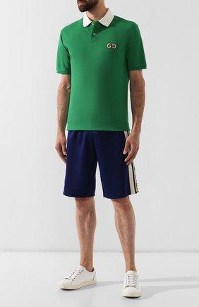 Мужское хлопковое поло GUCCI зеленого цвета, арт. 574086/XJA6C | Фото 2
