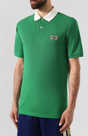 Мужское хлопковое поло GUCCI зеленого цвета, арт. 574086/XJA6C | Фото 3