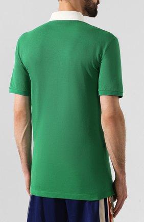 Мужское хлопковое поло GUCCI зеленого цвета, арт. 574086/XJA6C | Фото 4