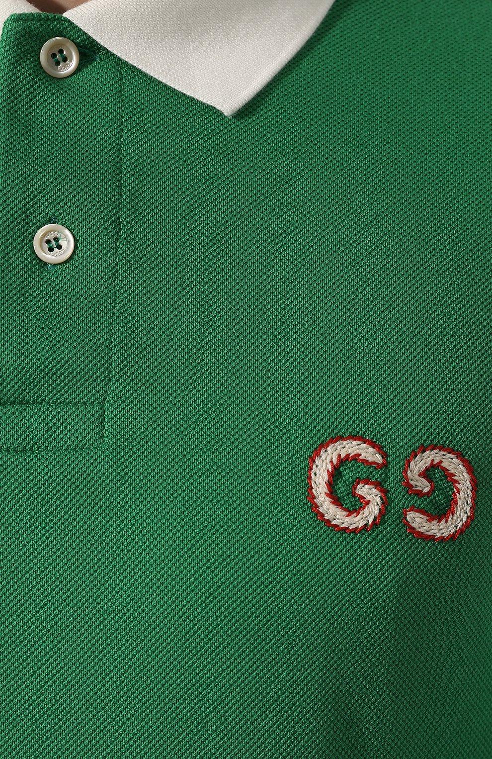 Мужское хлопковое поло GUCCI зеленого цвета, арт. 574086/XJA6C | Фото 5