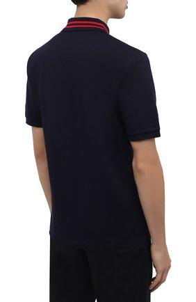 Мужское хлопковое поло GUCCI темно-синего цвета, арт. 574085/XJBAA | Фото 4