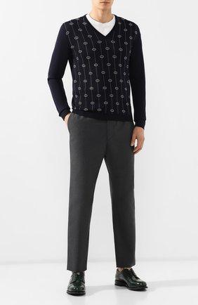 Мужской шерстяные брюки GUCCI темно-серого цвета, арт. 568612/ZABW0 | Фото 2