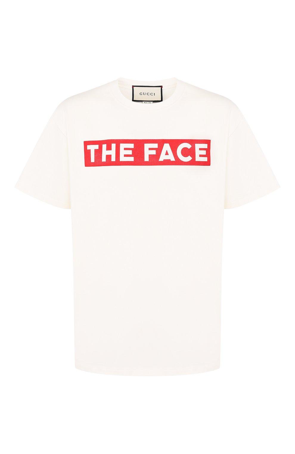 Мужская хлопковая футболка GUCCI белого цвета, арт. 565806/XJBCS   Фото 1