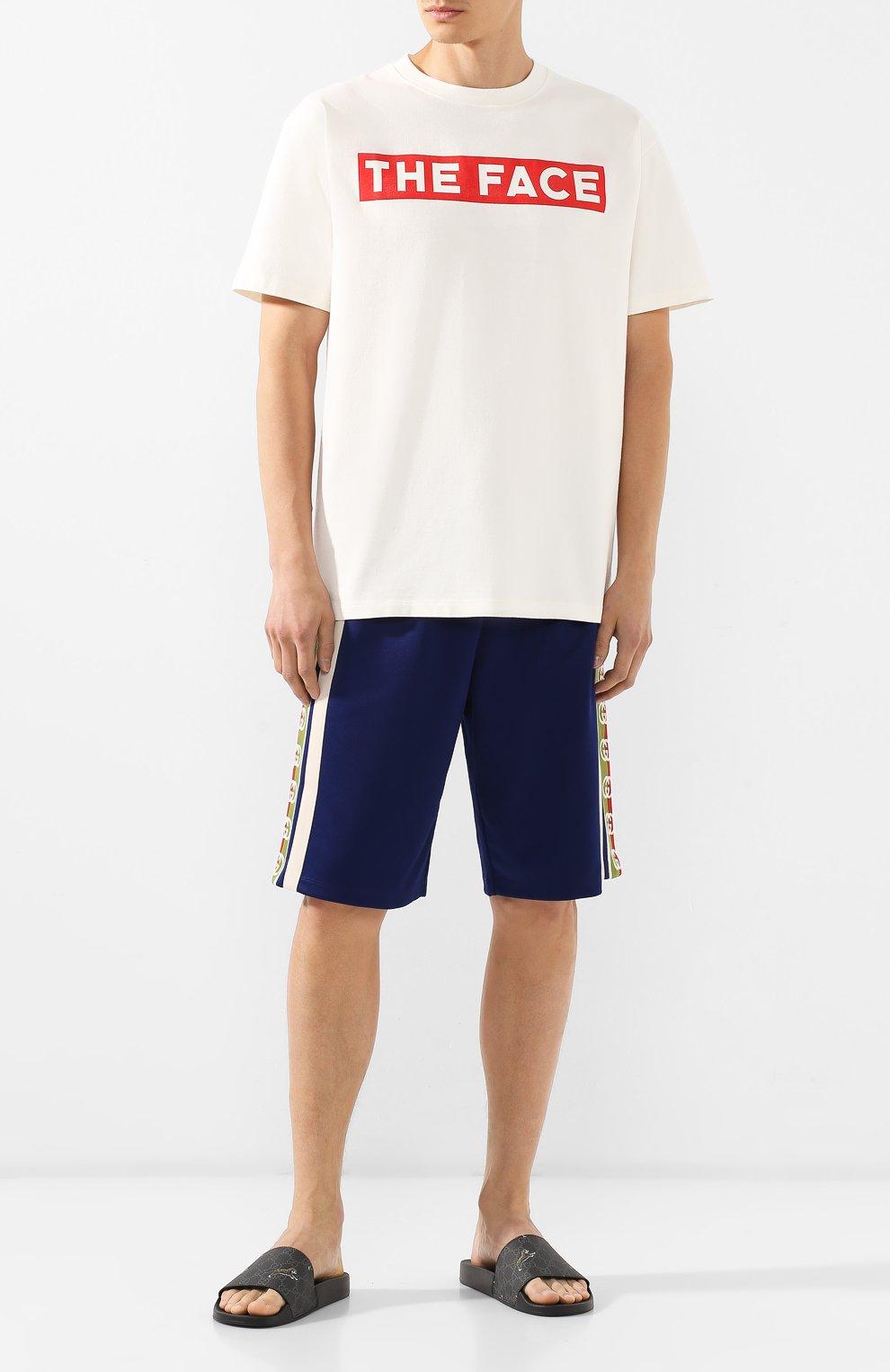 Мужская хлопковая футболка GUCCI белого цвета, арт. 565806/XJBCS   Фото 2