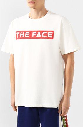 Мужская хлопковая футболка GUCCI белого цвета, арт. 565806/XJBCS   Фото 3