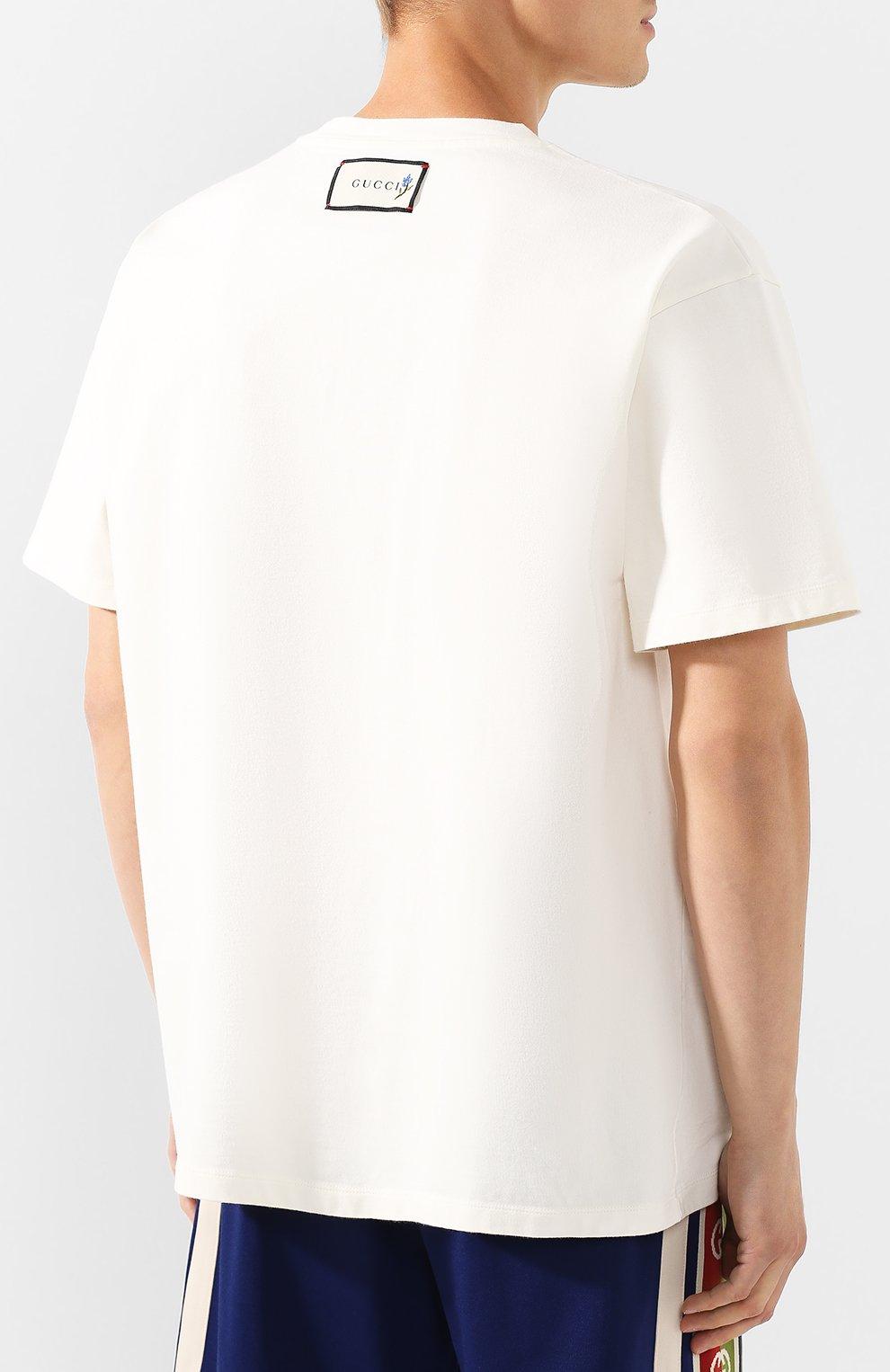 Мужская хлопковая футболка GUCCI белого цвета, арт. 565806/XJBCS   Фото 4