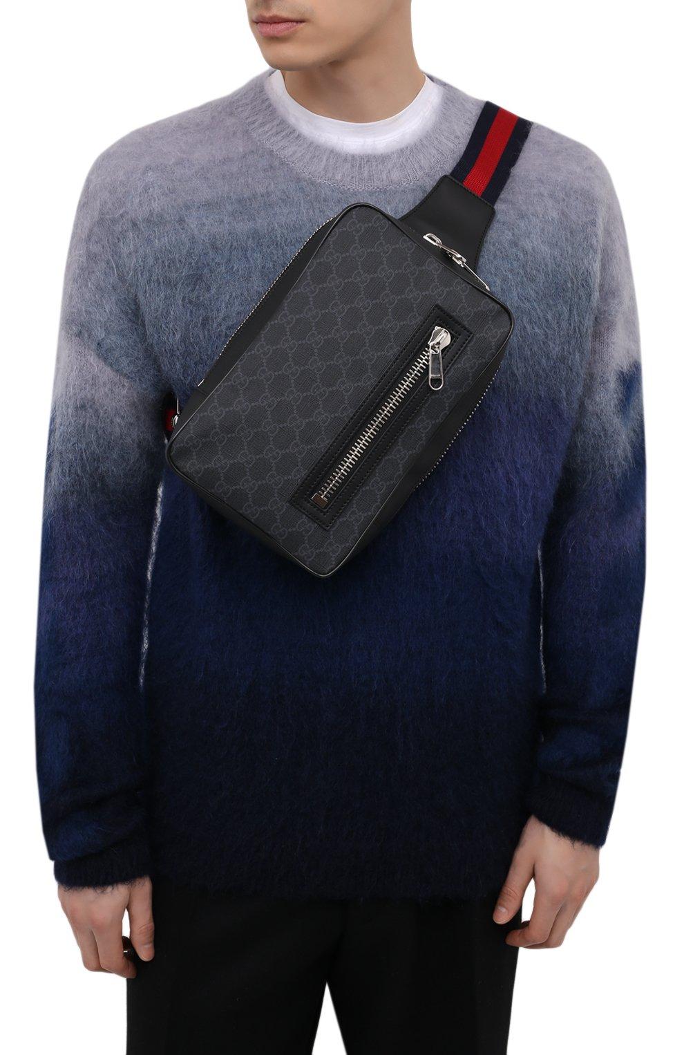 Мужская сумка gg supreme GUCCI черного цвета, арт. 478325/K9RRN | Фото 2