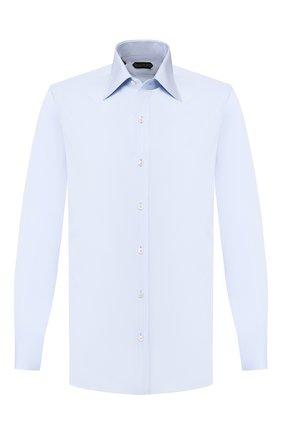Мужская хлопковая сорочка TOM FORD голубого цвета, арт. 6FT012/94S1JE | Фото 1