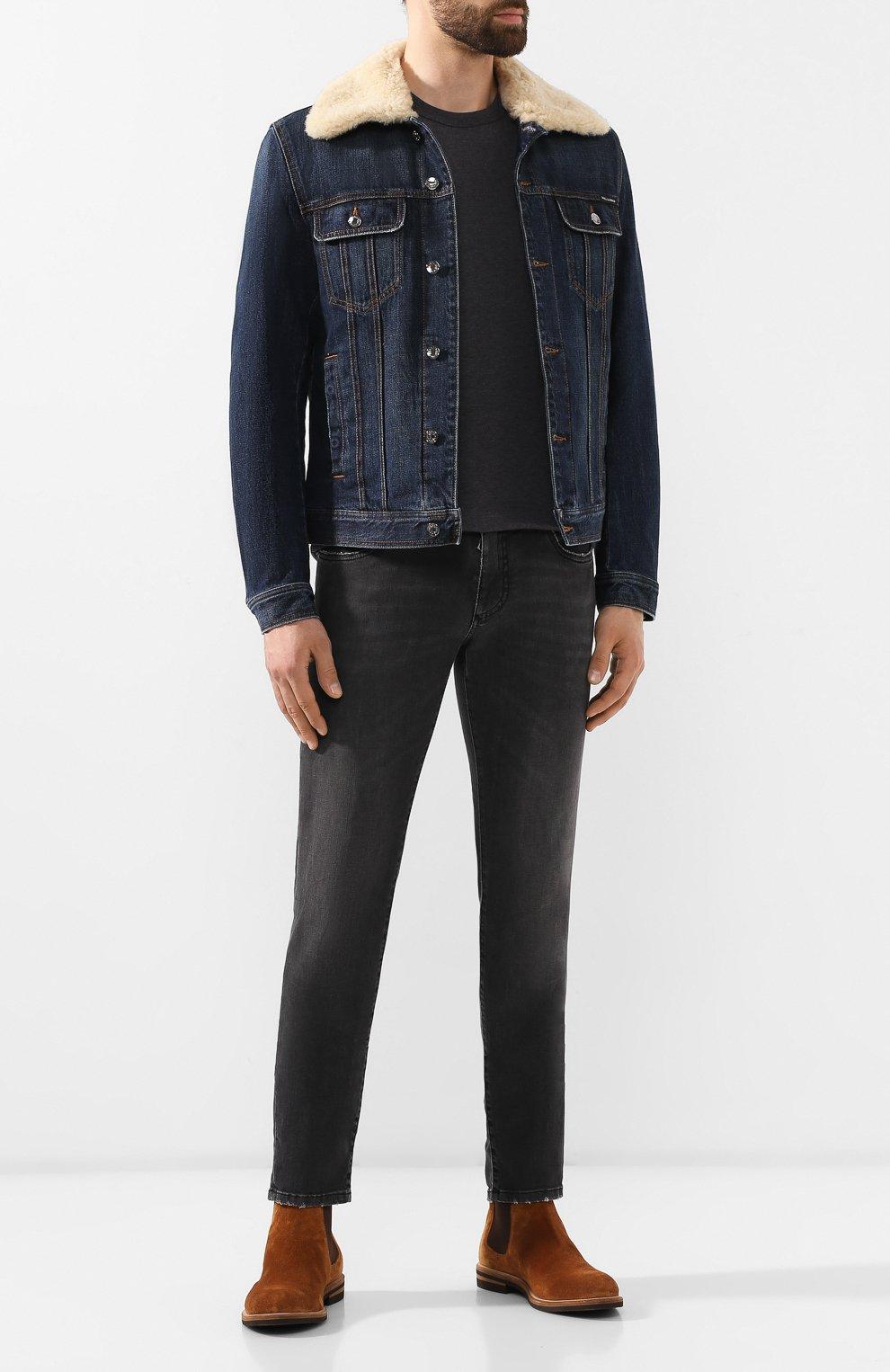 Мужская джинсовая куртка DOLCE & GABBANA темно-синего цвета, арт. G9PK3Z/G8BG0 | Фото 2
