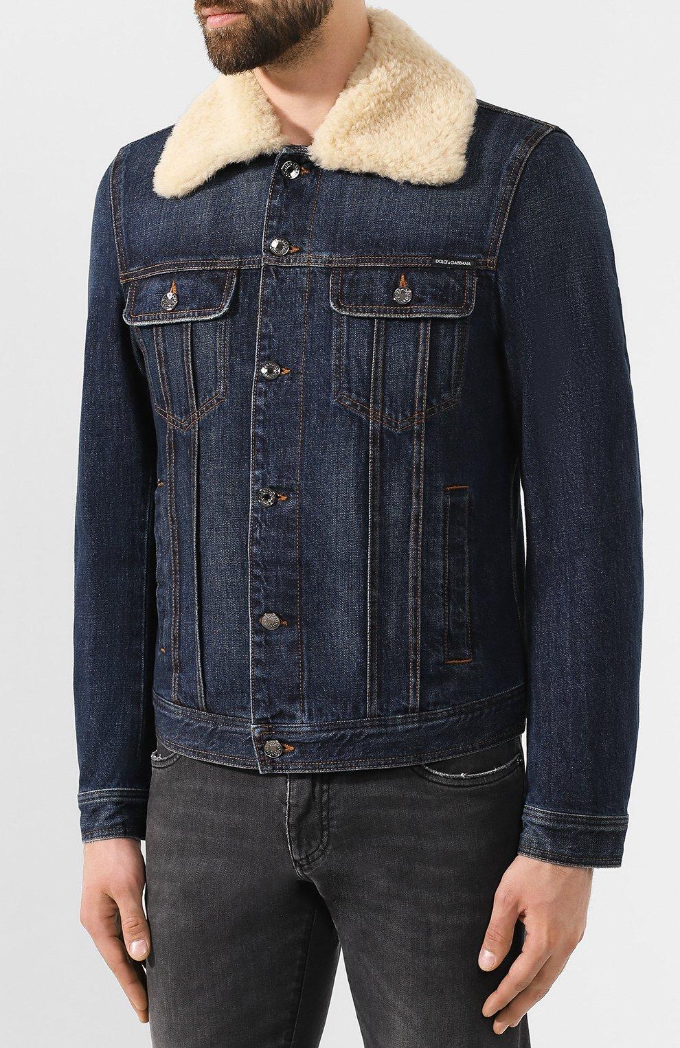 Мужская джинсовая куртка DOLCE & GABBANA темно-синего цвета, арт. G9PK3Z/G8BG0 | Фото 3