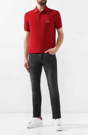 Мужское хлопковое поло DOLCE & GABBANA красного цвета, арт. G8KK1T/FU7EN   Фото 2