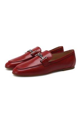 Женские кожаные лоферы TOD'S красного цвета, арт. XXW79A0Z370TRP | Фото 1