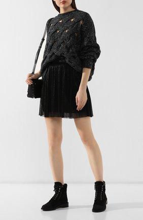 Женские замшевые ботинки PERTINI черного цвета, арт. 192W16062D2   Фото 2