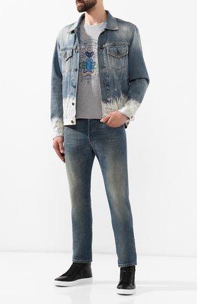 Мужские кожаные кеды HUGO черного цвета, арт. 50414641 | Фото 2