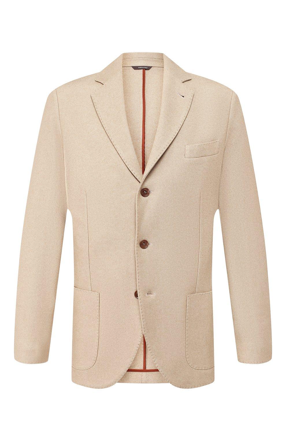 Мужской пиджак из смеси шелка и кашемира LORO PIANA бежевого цвета, арт. FAI2572   Фото 1