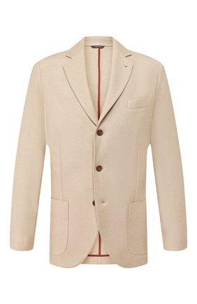 Мужской пиджак из смеси шелка и кашемира LORO PIANA бежевого цвета, арт. FAI2572 | Фото 1