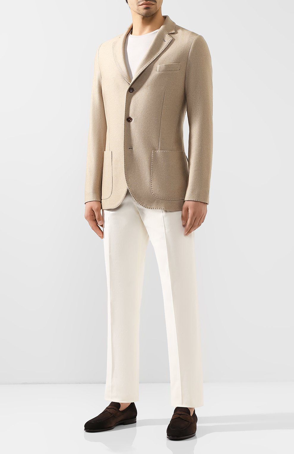 Мужской пиджак из смеси шелка и кашемира LORO PIANA бежевого цвета, арт. FAI2572   Фото 2
