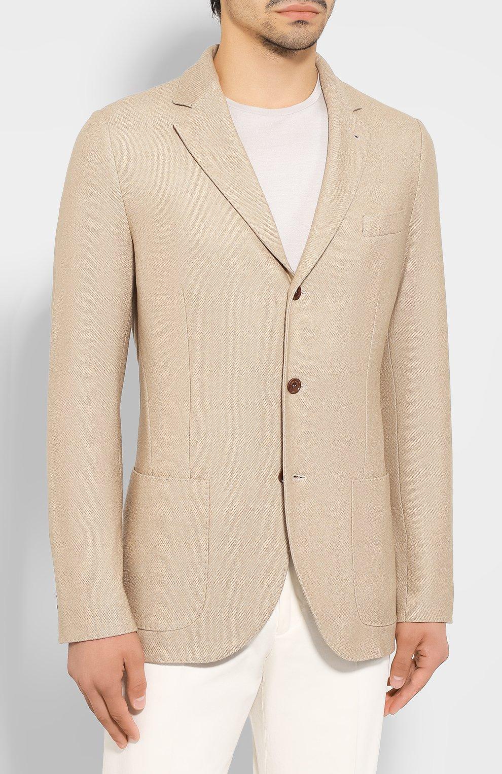 Мужской пиджак из смеси шелка и кашемира LORO PIANA бежевого цвета, арт. FAI2572   Фото 3