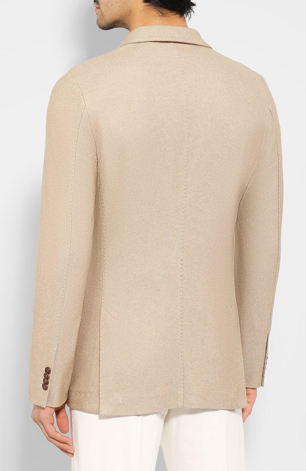 Мужской пиджак из смеси шелка и кашемира LORO PIANA бежевого цвета, арт. FAI2572   Фото 4