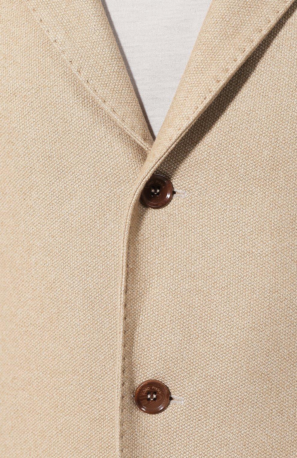Мужской пиджак из смеси шелка и кашемира LORO PIANA бежевого цвета, арт. FAI2572   Фото 5