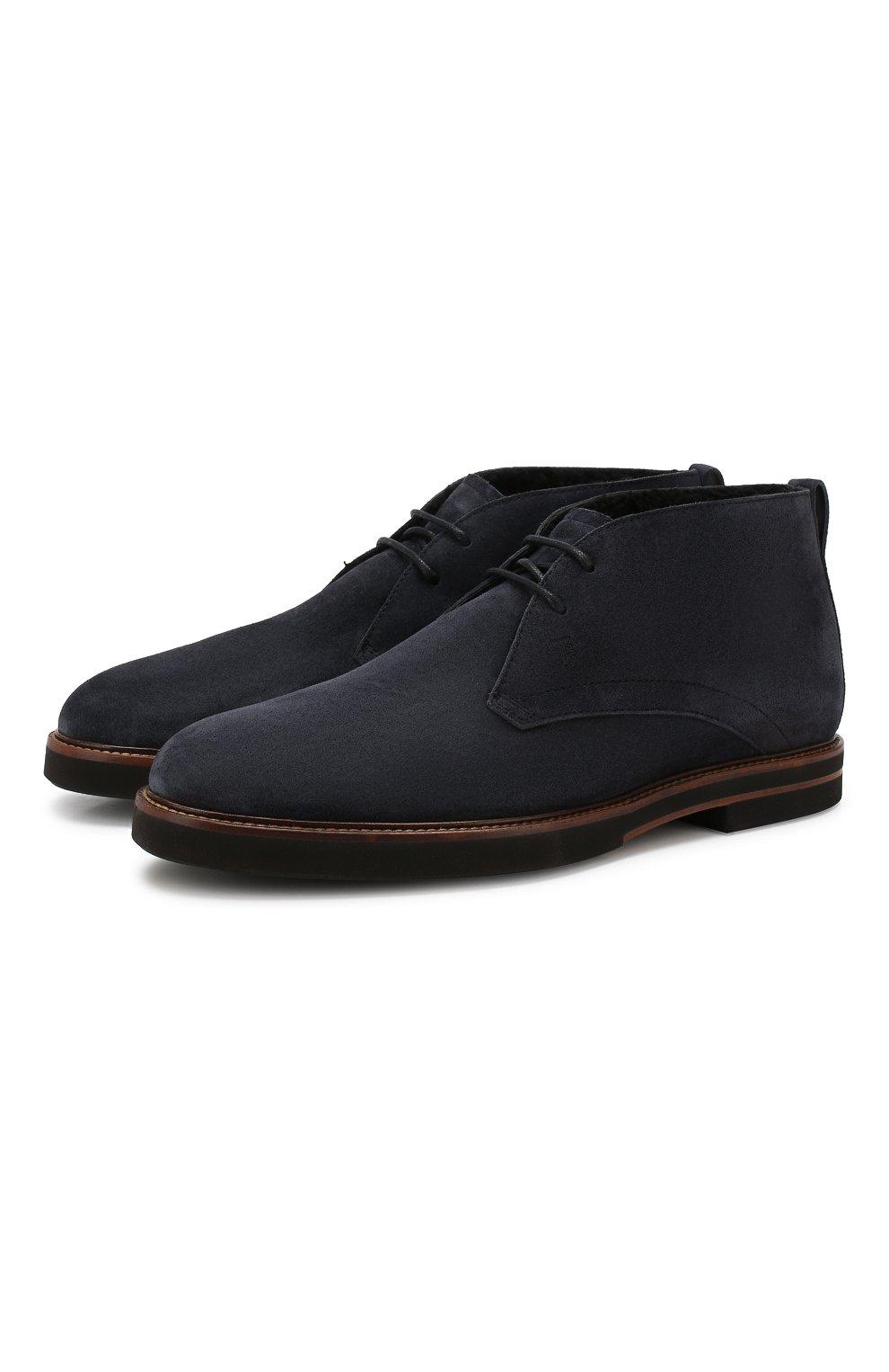 Мужские замшевые ботинки TOD'S темно-синего цвета, арт. XXM53B00D81RE0 | Фото 1