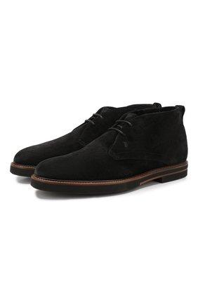Мужские замшевые ботинки TOD'S черного цвета, арт. XXM53B00D81RE0 | Фото 1