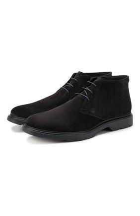 Замшевые ботинки Hogan черные | Фото №1