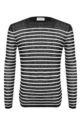 Мужская лонгслив из смеси льна и шелка SAINT LAURENT черного цвета, арт. 586922/YA20T | Фото 1