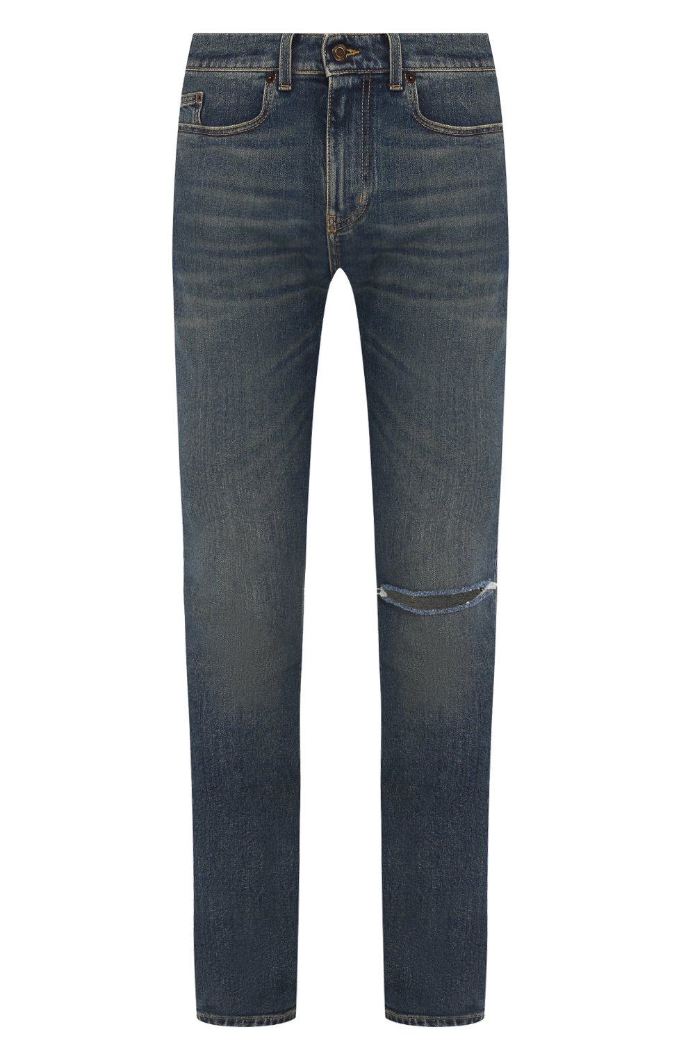 Мужские джинсы SAINT LAURENT темно-синего цвета, арт. 587035/YD964 | Фото 1