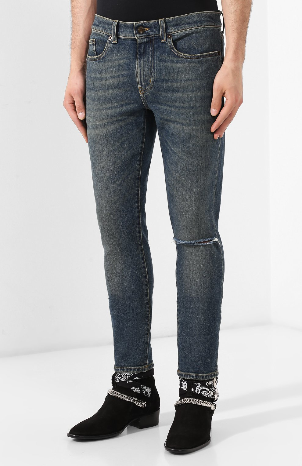 Мужские джинсы SAINT LAURENT темно-синего цвета, арт. 587035/YD964 | Фото 3