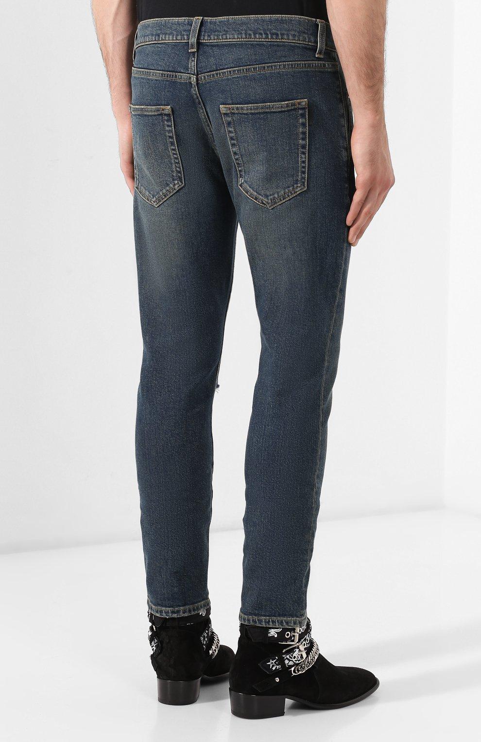 Мужские джинсы SAINT LAURENT темно-синего цвета, арт. 587035/YD964 | Фото 4
