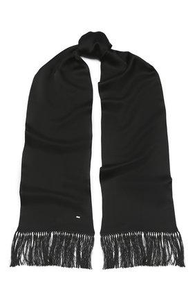 Мужской шелковый шарф SAINT LAURENT черного цвета, арт. 511992/4Y011 | Фото 1