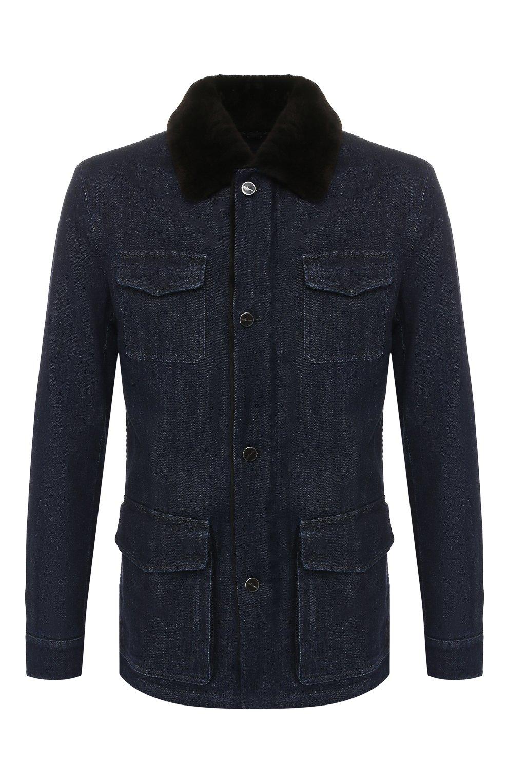 Мужская джинсовая куртка KITON темно-синего цвета, арт. UW0580TV03S30   Фото 1