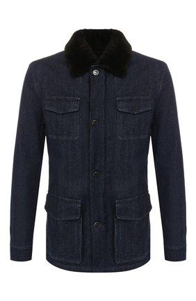 Мужская джинсовая куртка KITON темно-синего цвета, арт. UW0580TV03S30 | Фото 1