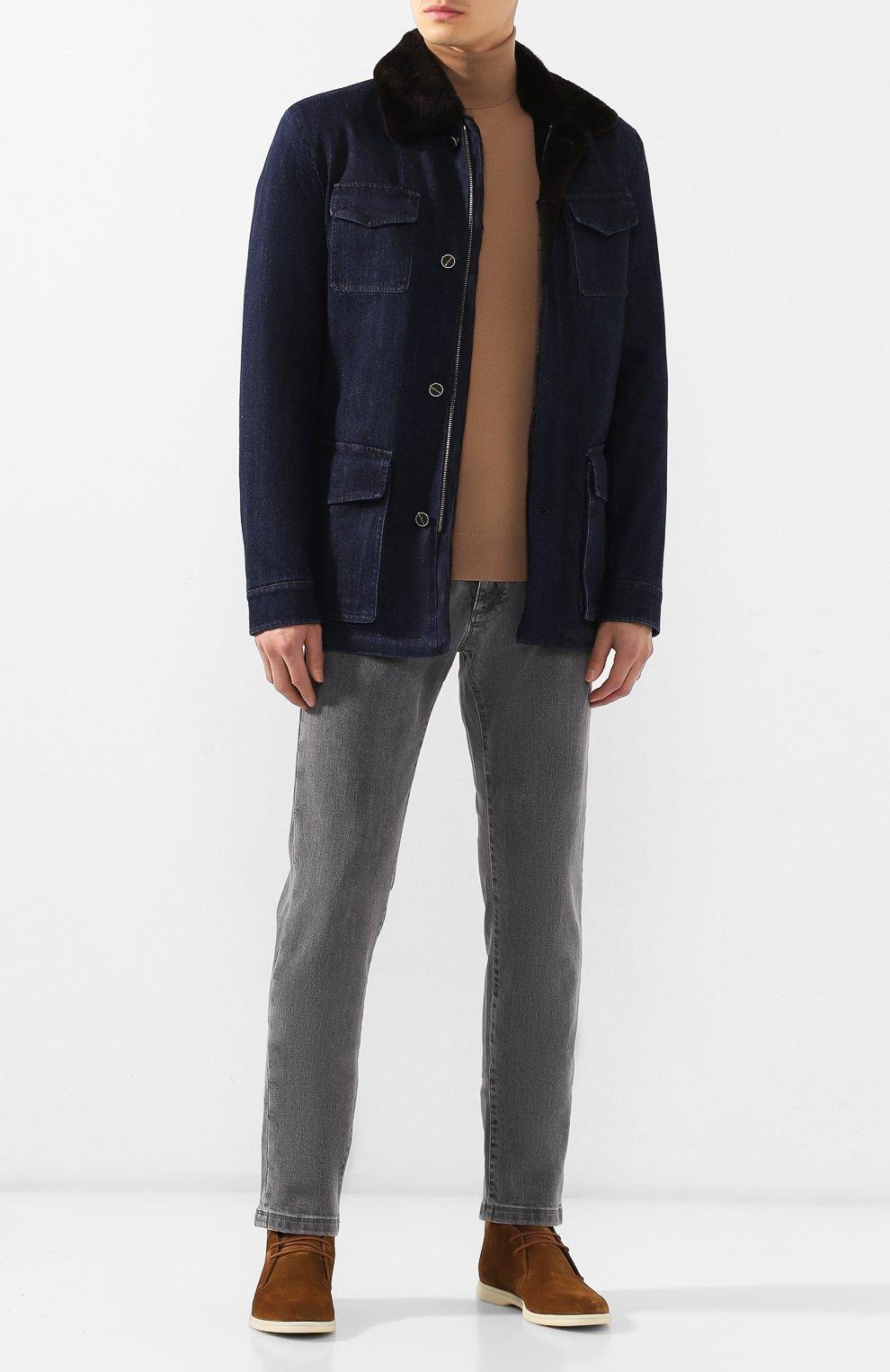 Мужская джинсовая куртка KITON темно-синего цвета, арт. UW0580TV03S30   Фото 2