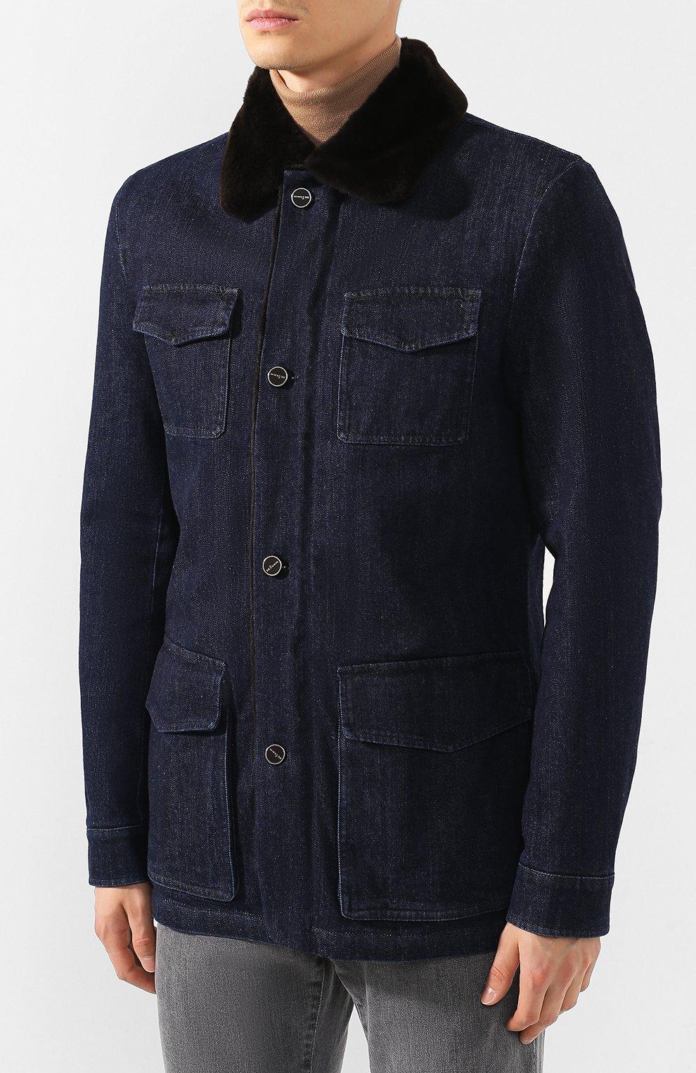 Мужская джинсовая куртка KITON темно-синего цвета, арт. UW0580TV03S30   Фото 3