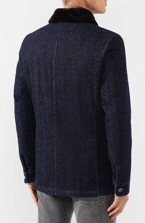 Мужская джинсовая куртка KITON темно-синего цвета, арт. UW0580TV03S30   Фото 4