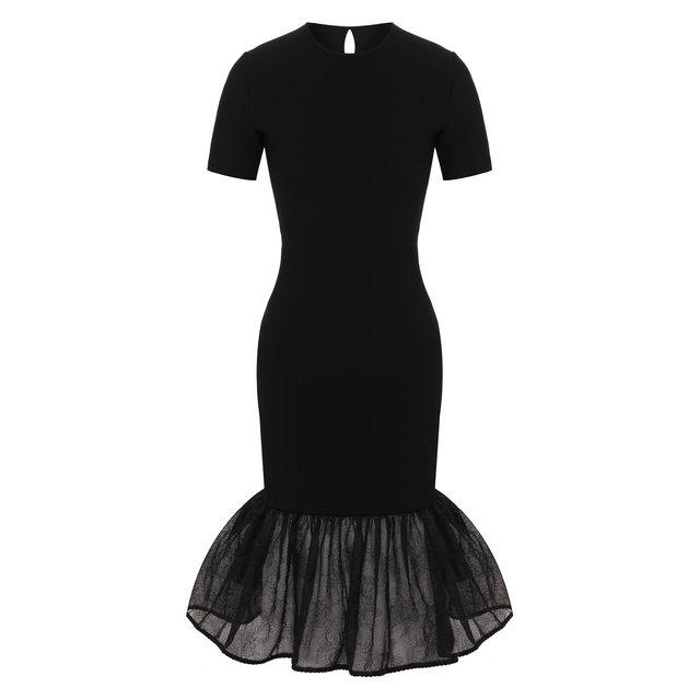 Платье из смеси шелка и вискозы Alexander McQueen