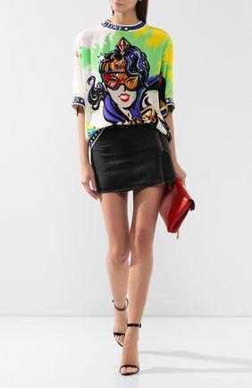 Женская шелковая футболка DOLCE & GABBANA разноцветного цвета, арт. F8L16T/G7R0L | Фото 2