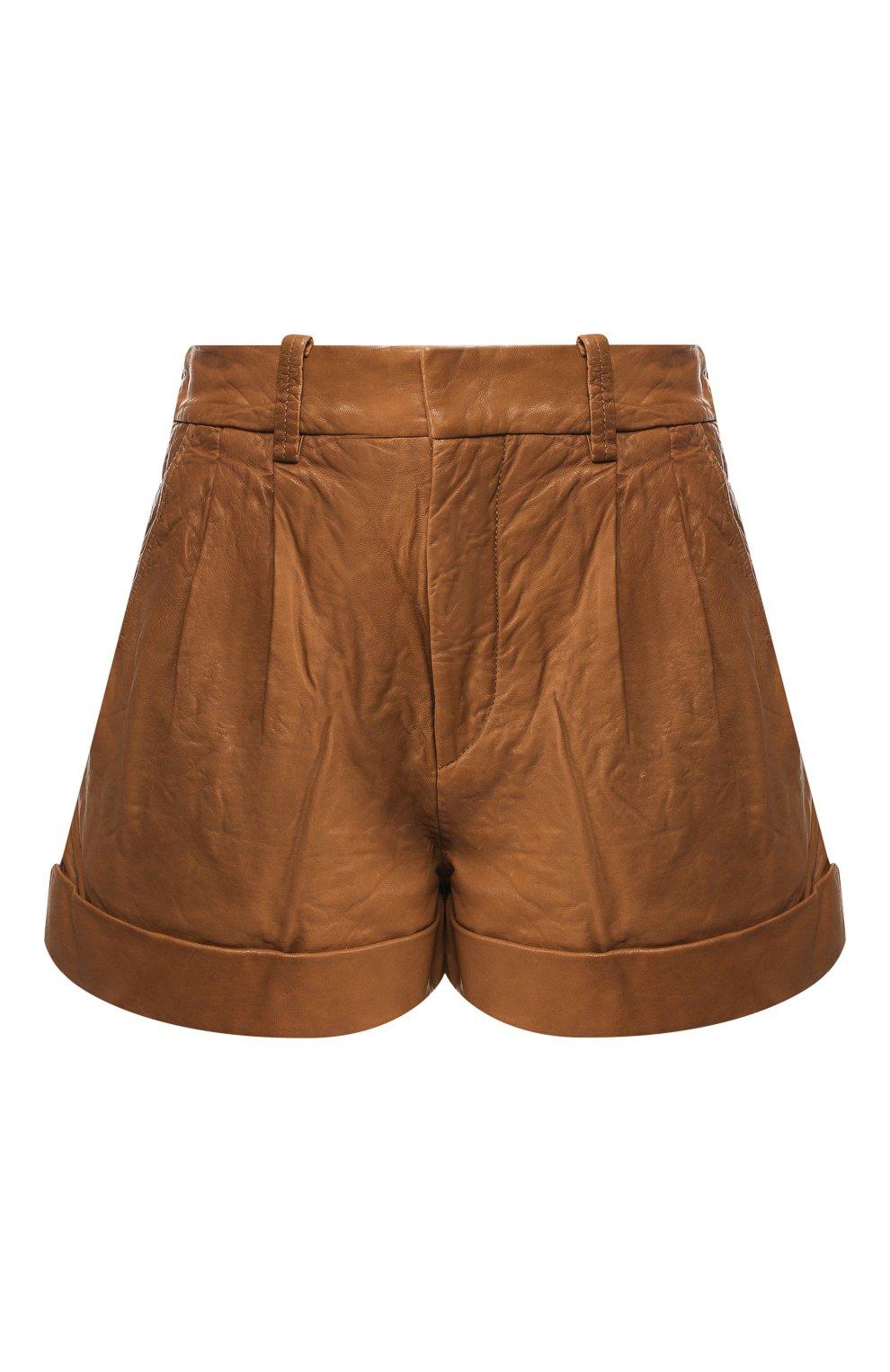Женские кожаные шорты ISABEL MARANT ETOILE коричневого цвета, арт. SH0209-19A002E/AB0T | Фото 1