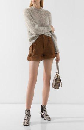 Женские кожаные шорты ISABEL MARANT ETOILE коричневого цвета, арт. SH0209-19A002E/AB0T | Фото 2