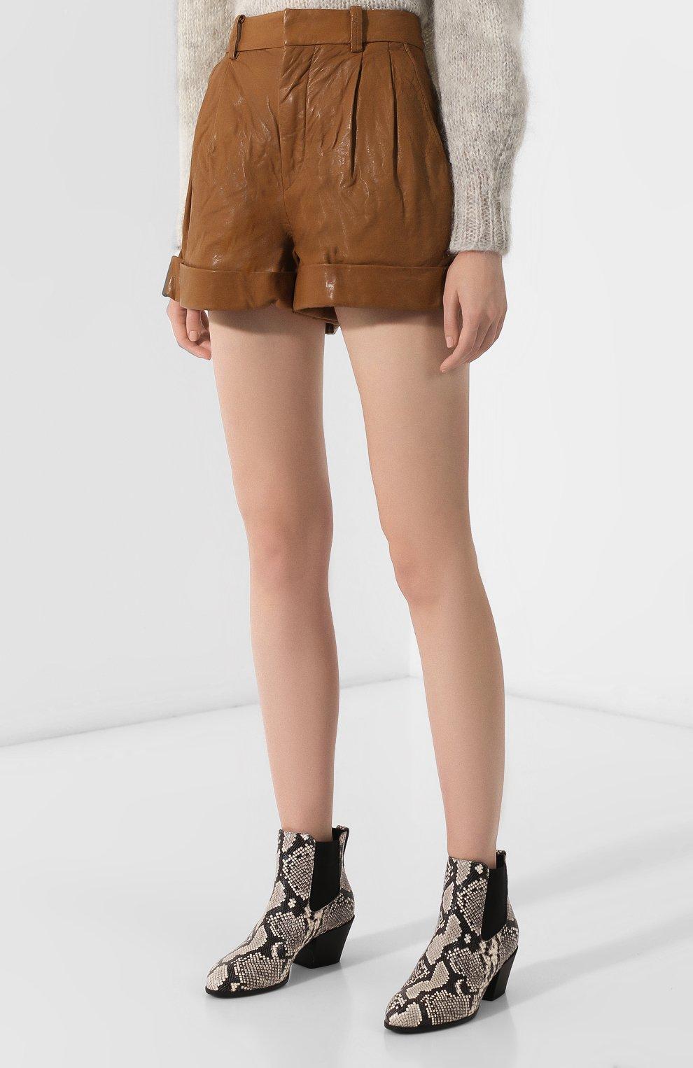 Женские кожаные шорты ISABEL MARANT ETOILE коричневого цвета, арт. SH0209-19A002E/AB0T | Фото 3