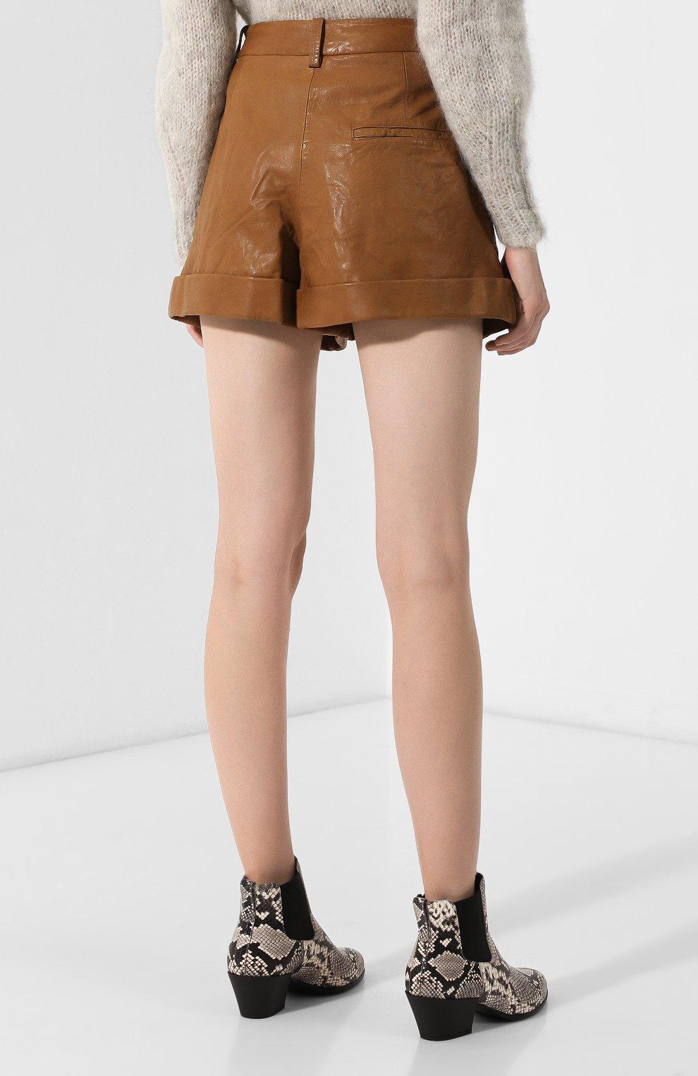 Женские кожаные шорты ISABEL MARANT ETOILE коричневого цвета, арт. SH0209-19A002E/AB0T | Фото 4