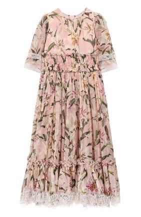 Детское хлопковое платье DOLCE & GABBANA светло-розового цвета, арт. L51DR1/HS155/2-6 | Фото 1